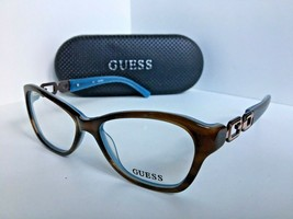 New Guess GU2405BRNBL 51mm Tortoise Blue Cats Eye Rx Women's Eyeglasses ... - $99.99