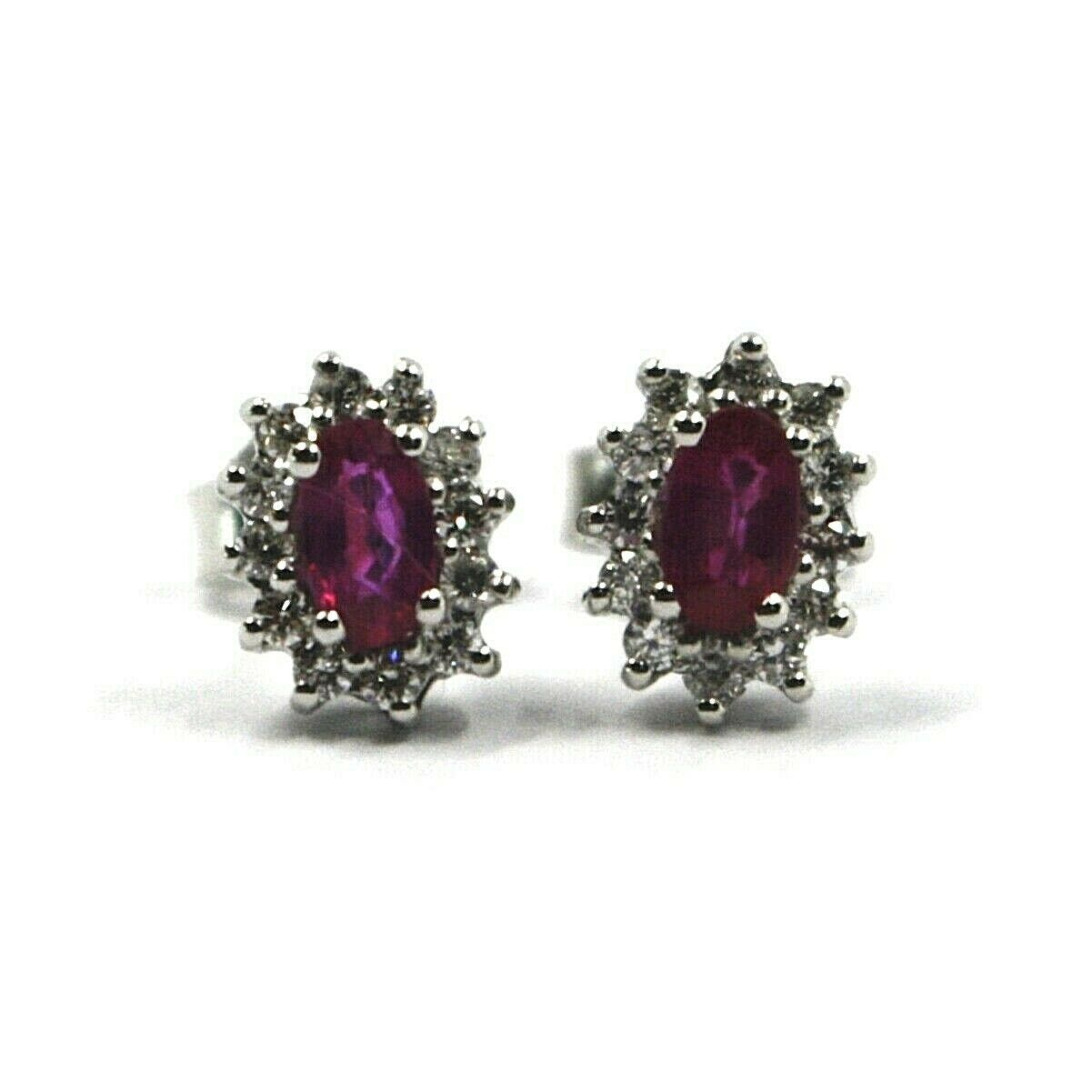 18K WHITE GOLD FLOWER EARRINGS OVAL RUBY 0.55 CARATS, DIAMONDS FRAME 0.28 CARATS