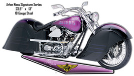 Purple Arlen Ness Motorcycle Cut Out Reproduction Metal Sign 13x23.5 - $26.73