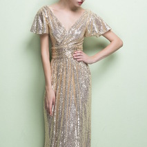 GOLD Maxi Sequin Dress Cap Sleeve High Waist Retro Style Maxi Long Sequin Dress image 7
