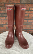 Hunter Boots Siz 12 Tall Maroon Burgundy Adjustable Calf Tall Snow Rain ... - €67,79 EUR