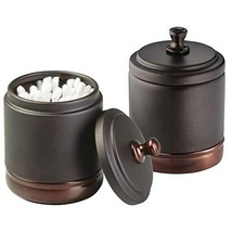 mDesign Metal Bathroom Vanity Storage Organizer Canisters Jars for Cotto... - $23.21