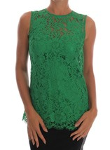 Dolce & Gabbana Green Floral Lace Top Blouse - $510.98