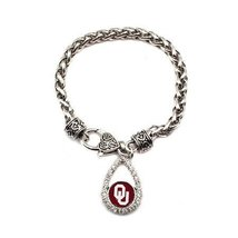 Inspired Silver University of Oklahoma Teardrop Charm Silver plated Brac... - $652,74 MXN