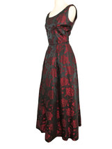 50s Iridescent Silk Jacquard Deep Grey Strawberry Pink Rose Pattern Ball... - $140.00