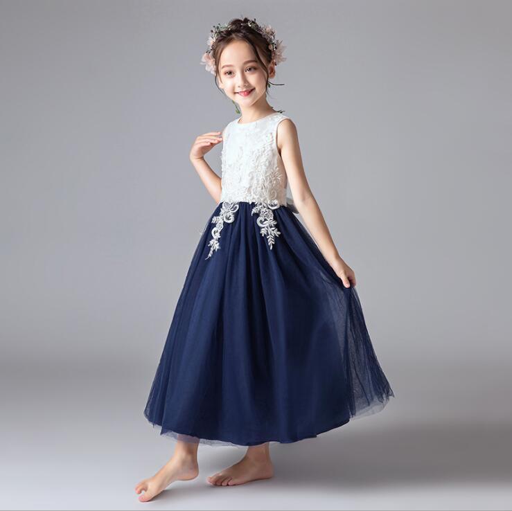 Flower Girl Dress Appliqued Tulle A Line Dance Skirts Vintage Children Party  image 3
