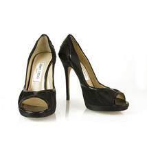 Jimmy Choo Black Satin Patent Leather Peep Toe Pumps Slim Heel Shoes sz 38.5 - $233.06