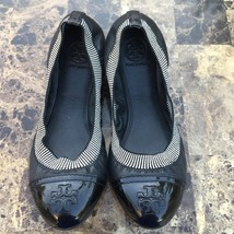 Tory Burch Womens Ballet Flats 7.5 Gabby Black Leather Cap Toe - $60.76