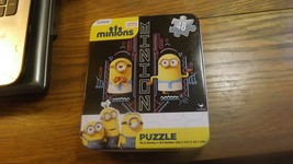RR4) Preowned Minions 48 piece Puzzle Tin Box Funny Egyptian Pose  Despi... - $7.42