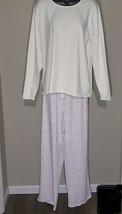 Lands End Womens Knit Pajama Set Long Sleeve Ivory Tee Lilac Mosaic Pant... - $19.99