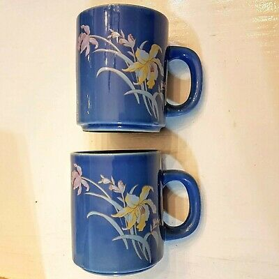 Primary image for Blue Coffee Mug SET Yellow & Pink Iris Flowers Tea Cup LOT 2 unused VTG Taiwan