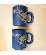 Blue Coffee Mug SET Yellow & Pink Iris Flowers Tea Cup LOT 2 unused VTG ... - $15.84