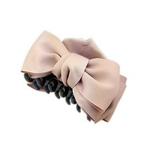 [Set Of 2] Handmade Bowknot Jaw Clip Hair Styling Claws, 3.7 inches, Dark PINK