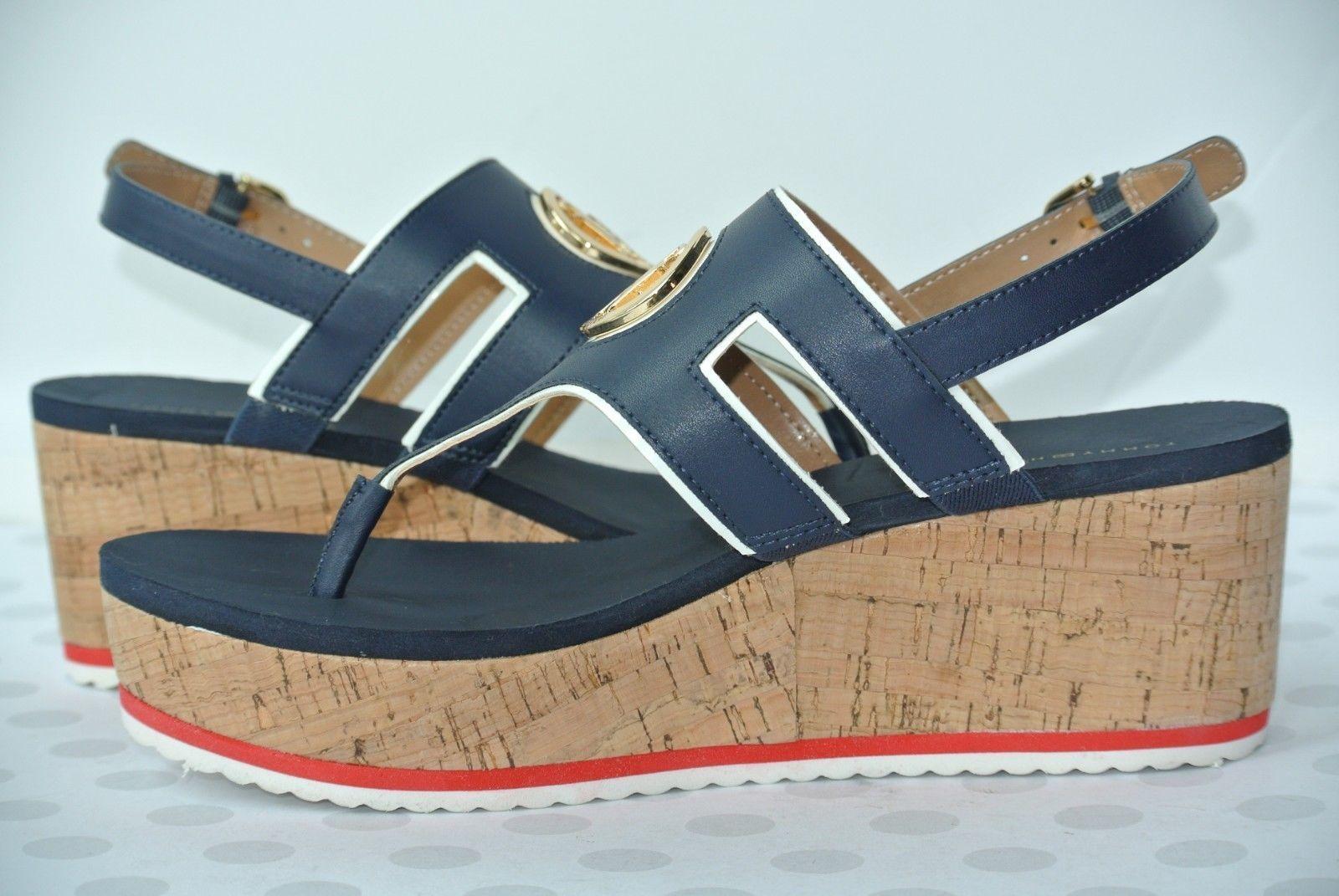 05ae373f34b NEW Tommy Hilfiger Gelia Womens 11 M Navy   White Havana Platform Wedge  Sandals