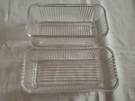 "2 Federal  4"" x 8.5"" Clear Crystal Ribbed Glass Refrigerator Dish Bottom NO LID - $26.48"
