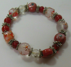 Vintage Colorful Glass Bead Stretch Bracelet  - $22.77