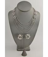 60s 70s VINTAGE MONET SILVER METAL MULTI NECKLACE CHAIN & CLIP EARRINGS SET - $26.25
