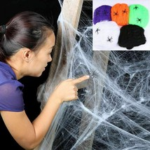 Spider Web Fake Halloween Scary Party Scene Props White Stretchy Cobweb - $2.39+