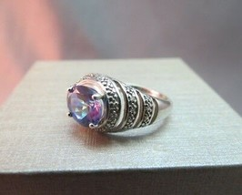 Mystic Topaz Sterling Silver Ring Oval Stone Rhinestones Faceted 925 SZ ... - $29.69