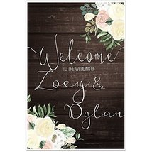 Faux Wood and Flowers Welcome to Our Wedding Ceremony Sign Poster - $11.39