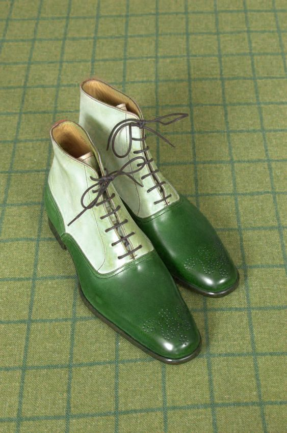 Handmade Men's Green And White Brogue High Ankle Lace Up Leather Boots