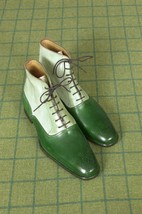 Handmade Men's Green And White Brogue High Ankle Lace Up Leather Boots image 1