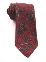 VINTAGE PRINCE CONSORT SCHRETER Slim Wool Necktie Red Paisley pattern Sk... - $49.49