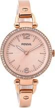 Fossil Ladies Georgia Rose Gold Tone Stainless Steel Strap Salmon Dial E... - ₹6,994.17 INR