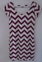 Women's Jr's Summer Dress Burgundy & Ivory Chevron Print Fitted Medium Euc - $12.19