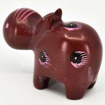 Crafts Caravan Soapstone Red Hippopotamus Hippo Figurine Made Kenya image 3