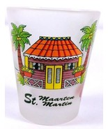 """St Maarten Beach House Palm Trees Floral 2.25"""" Frosted Collectible Shot ... - $8.01"""
