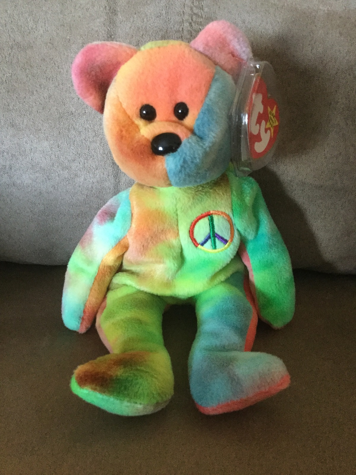 "Primary image for TY Beanie Babie ""Peace OLD FACE "" ULTRA RARE NEW MWMT PVC 1st Ed Collectors item"