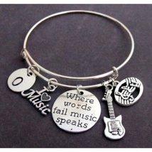 Where Words Fail Music Speaks, Musician gift,Music Bangle Bracelet,I lov... - $18.30