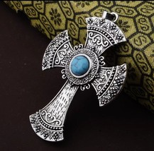 Turquoise Cross Necklace with Chain Included, Antique, Vintage Style - $5.89
