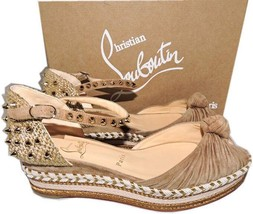 Christian Louboutin Red Sole Madcarina 60 Spiked Wedge Ankle Strap Sanda... - $504.00
