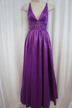 Jessica Simpson Dress Sz 10 Dewberry Purple Empire Embellished Waist V Gown - $107.71