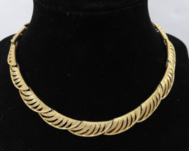 "Vintage Costume Jewelry Gold Tone Signed Coro Collar Necklace 15"" - $50.00"