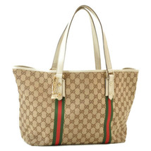GUCCI Web Sherry Line GG Canvas Charm Tote Bag Red Green Auth 9580 - $240.00