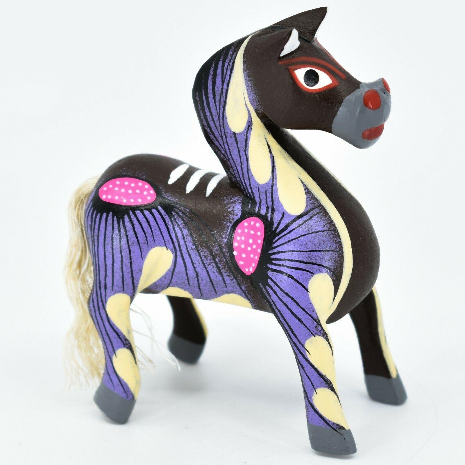 Handmade Alebrijes Oaxacan Copal Wood Carving Painted Folk Art Horse Figurine