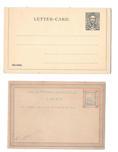Liberia 3c Postal Stationery Card 1882 and Lettercard 1892 HG 1 Unused - $6.69