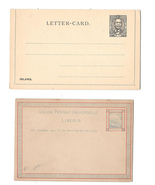 Liberia 3c Postal Stationery Card 1882 and Lettercard 1892 HG 1 Unused - $8.24 CAD