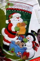 Bucilla Santas List Snowman Christmas Eve Holiday Gifts Felt Stocking Kit 86360 - $37.95