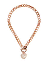 NWT Guess Rose-Gold Metal-Clear Stones Heart Charm Stamped Logo Toggle N... - $29.69