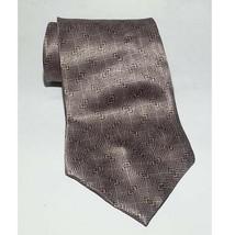 "Pierre Cardin Men Dress Silk Tie Silver Brown With Print 60"" long 4"" wide USA - $9.22"