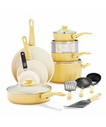 Soft Grip Healthy Ceramic Nonstick Yellow Cookware Pots and Pans Set, 16... - $214.02+
