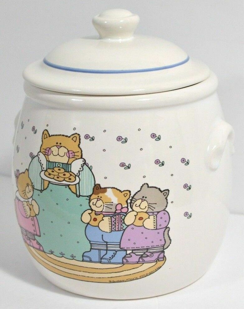 Cat Cookie Jar Kitty Family Mom Kittens Treasure Craft Country Style VTG 1990s