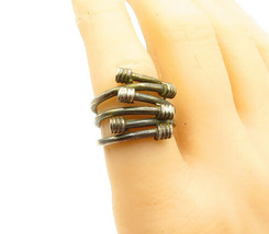925 Sterling Silver - Vintage Wrapped Detail Bypass Style Band Ring Sz 7... - $32.16