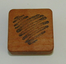 """Heart Rubber Stamp Scribble Comotion Wood Mounted 1.75"""" High  - $4.94"""