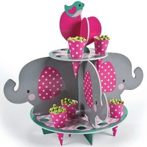 Pink Elephant Treat Stand With Cones (25 pcs. per set) Foam. - $16.14