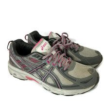 Asics womens size 9 shoes Gel Venture 6 gray black pink running sneakers - $17.41